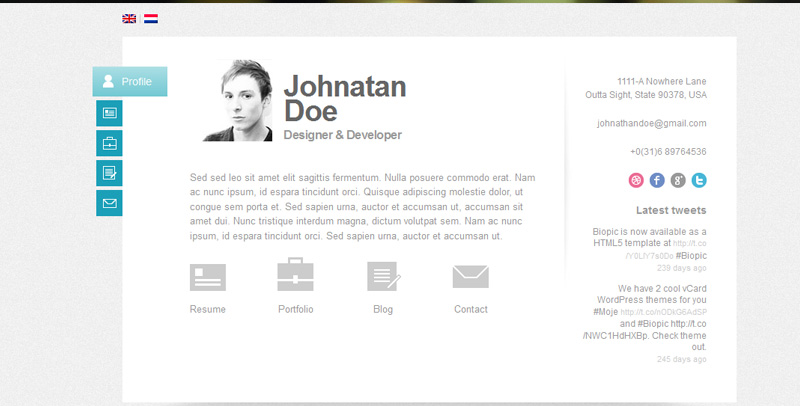 Best Free  Premium Cv Vcard Resume Wordpress Themes