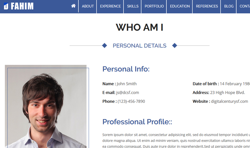 hired professional resume wordpress template