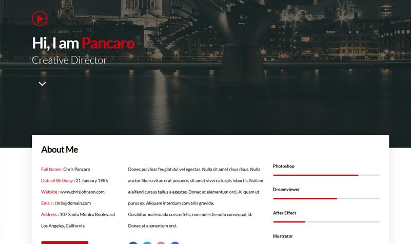 Pancaro - Personal Resume & CV WP Theme