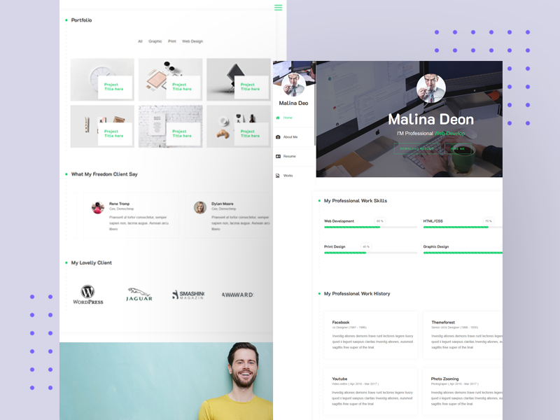 My v Card Resume Clean Minimal WordPress Theme