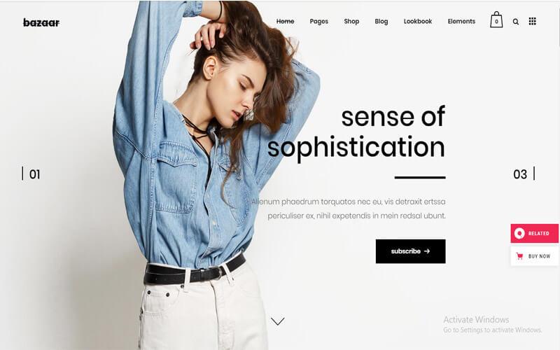 Preview screenshots of Bazaar - eCommerce Theme