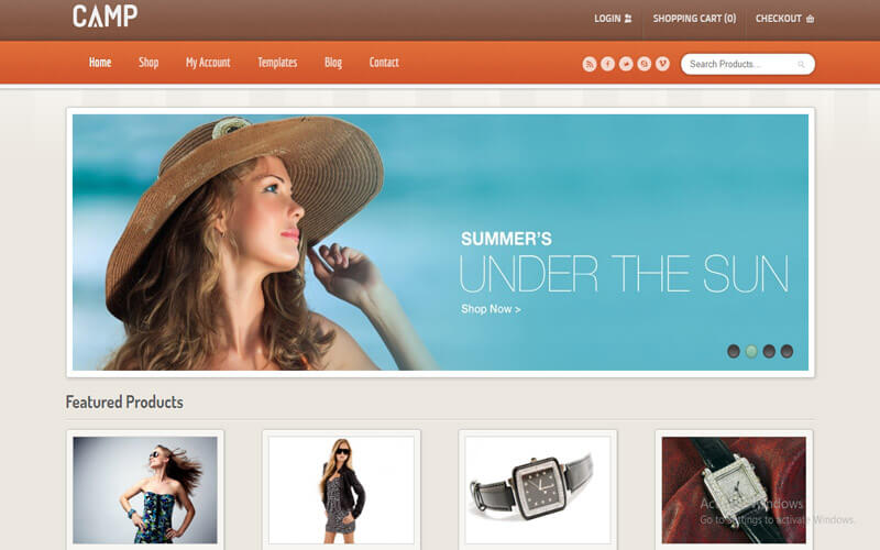 Preview screenshots of Camp - Responsive eCommerce Theme