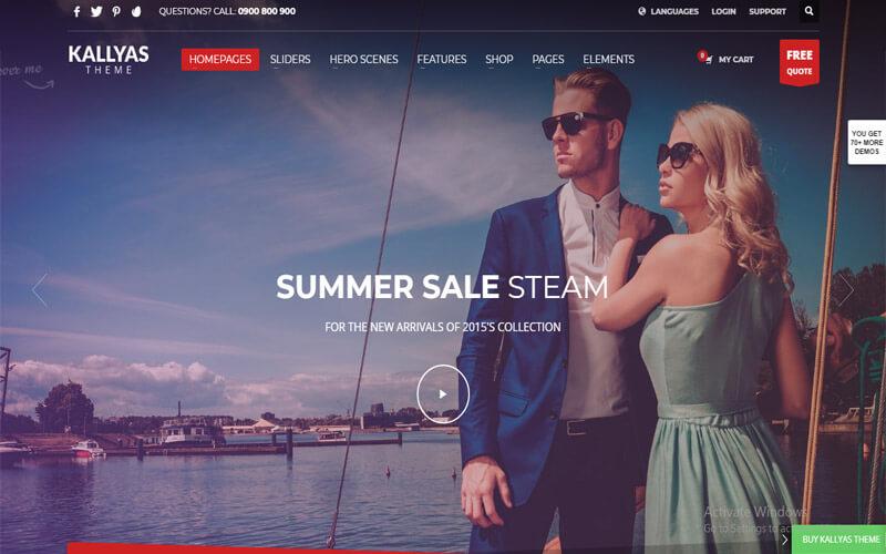 Preview screenshots of KALLYAS - Creative eCommerce Multi-Purpose WordPress Theme