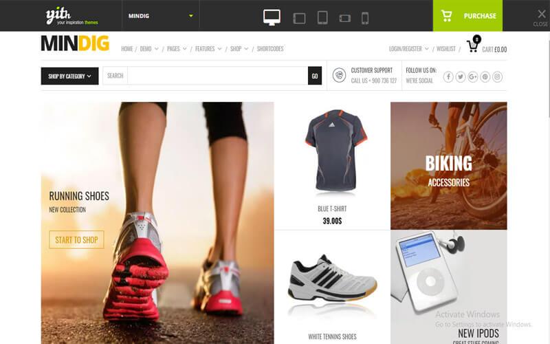 Preview screenshots of Mindig - a Flat & Multipurpose Ecommerce Theme
