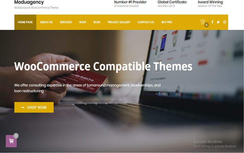 Preview screenshots of ModuAgency WooCommerce Compatible Multi-Purpose theme