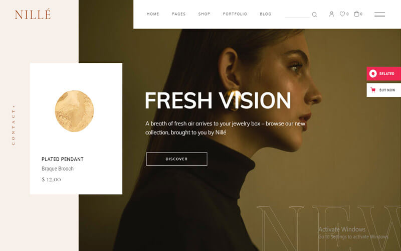 Preview screenshots of Nillé - Elegant eCommerce Theme