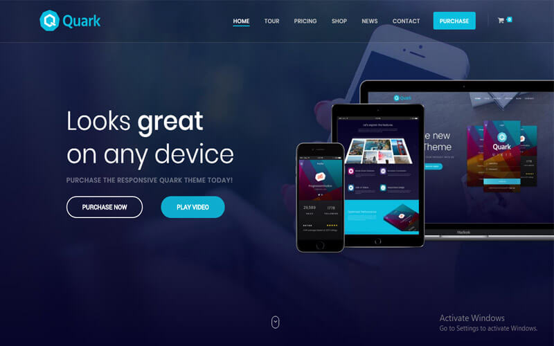 Preview screenshots of Quark - Single Product eCommerce Theme