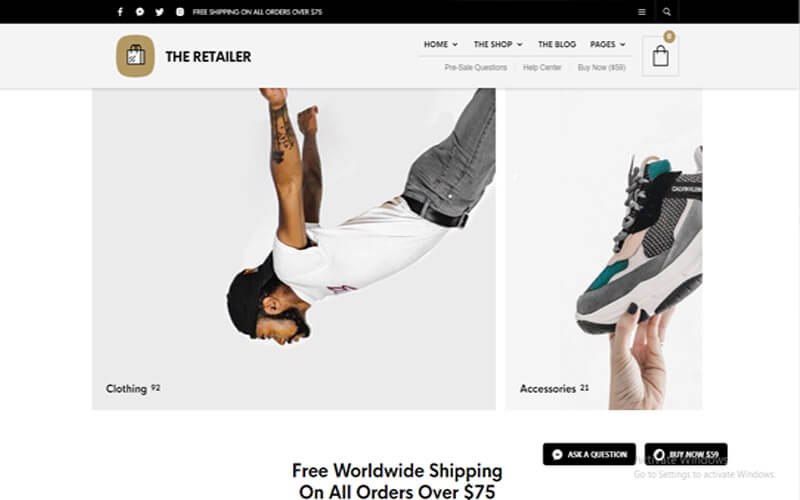 Preview screenshots of The Retailer - eCommerce WordPress Theme for WooCommerce