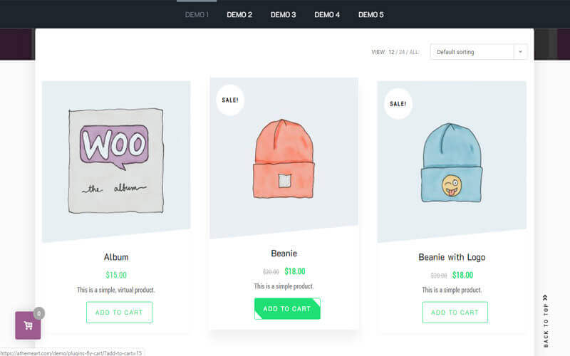 Preview screenshots of WooCommerce Modal Fly Cart + Ajax add to cart