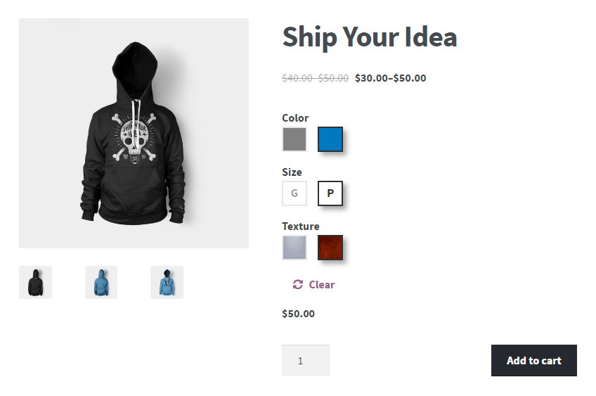 Preview screenshots of Color or Image Variation Swatches for WooCommerce