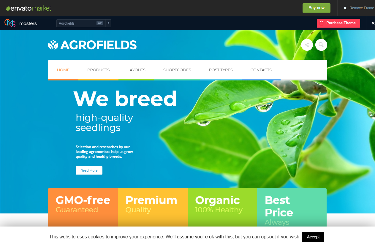 Preview screenshots of Agrofields - Food Shop & Grocery Market WP Theme