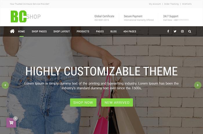 Preview screenshots of BC Shop WordPress Theme