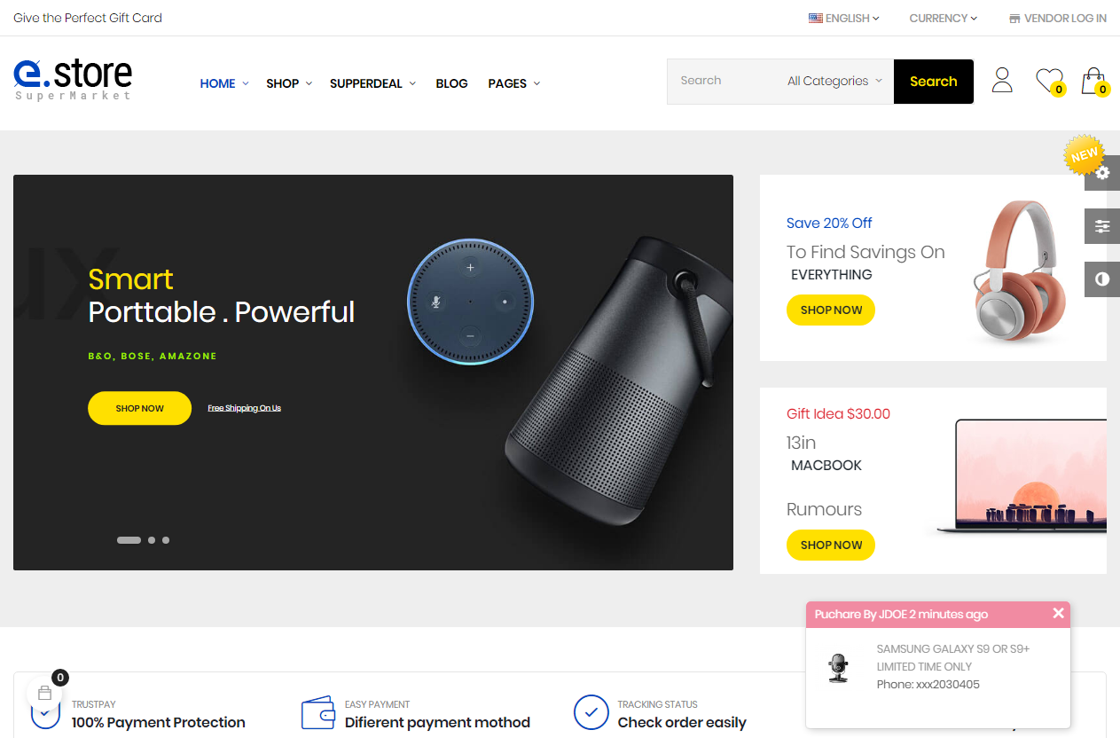 Preview screenshots of Estore - Supermarket and Digital Store