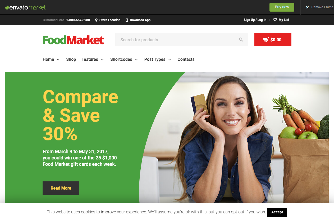 Preview screenshots of Food Market - Grocery Store and Shop WordPress Theme