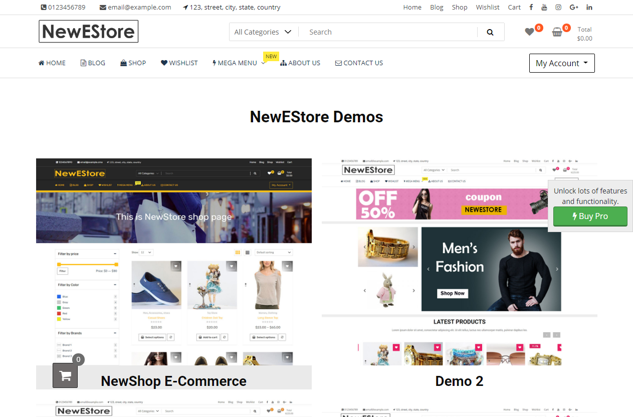 Preview screenshots of NewStore WordPress Theme
