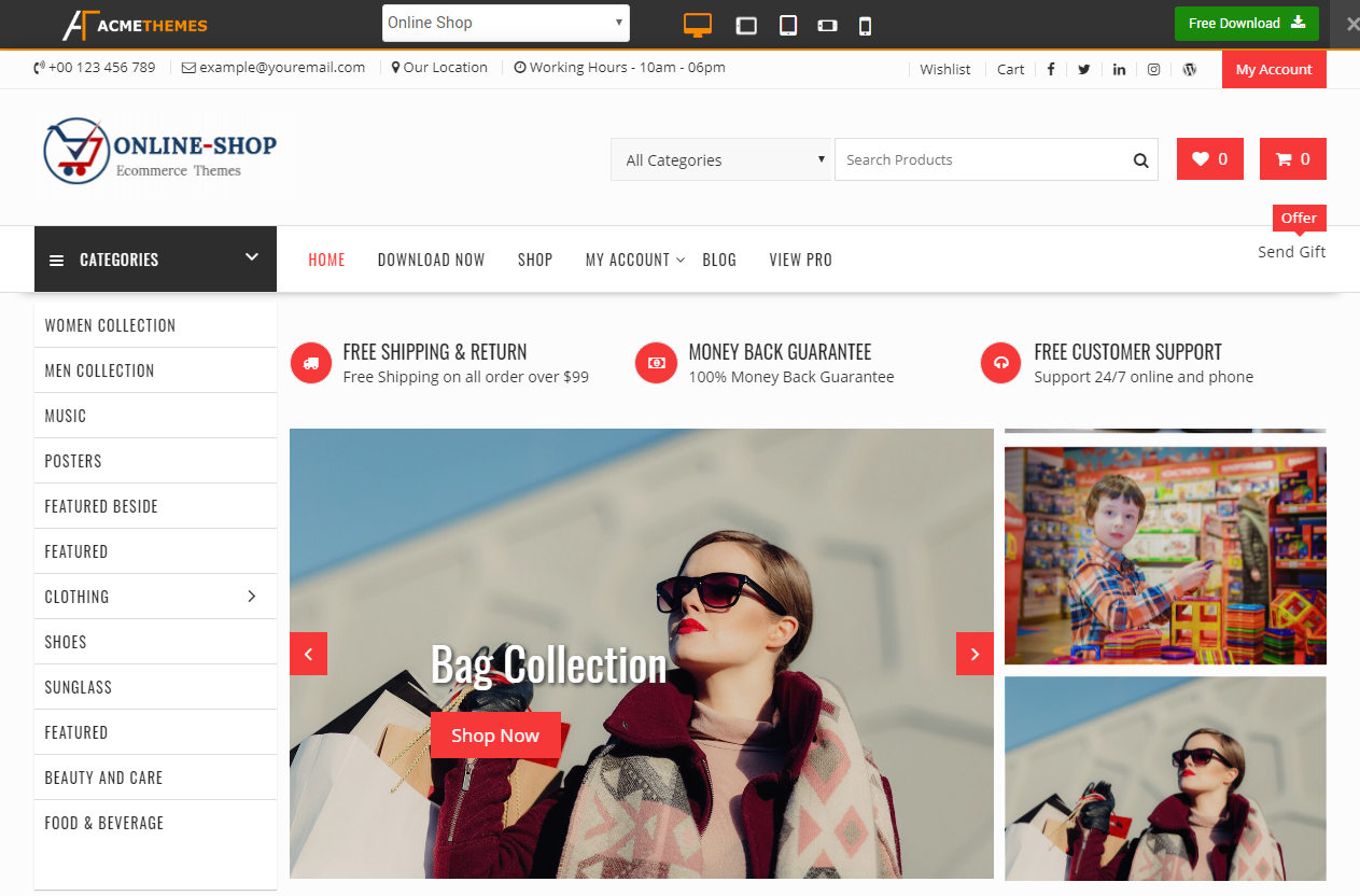 Preview screenshots of Online Shop - Highly Customized WordPress E-Commerce Theme