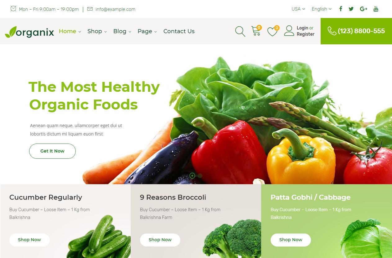 Preview screenshots of Organix - Organic Food WooCommerce WordPress Theme