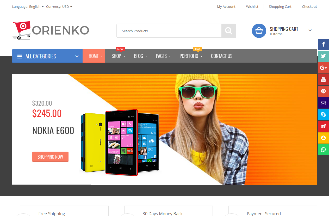 Preview screenshots of Orienko - WooCommerce Responsive Digital Theme