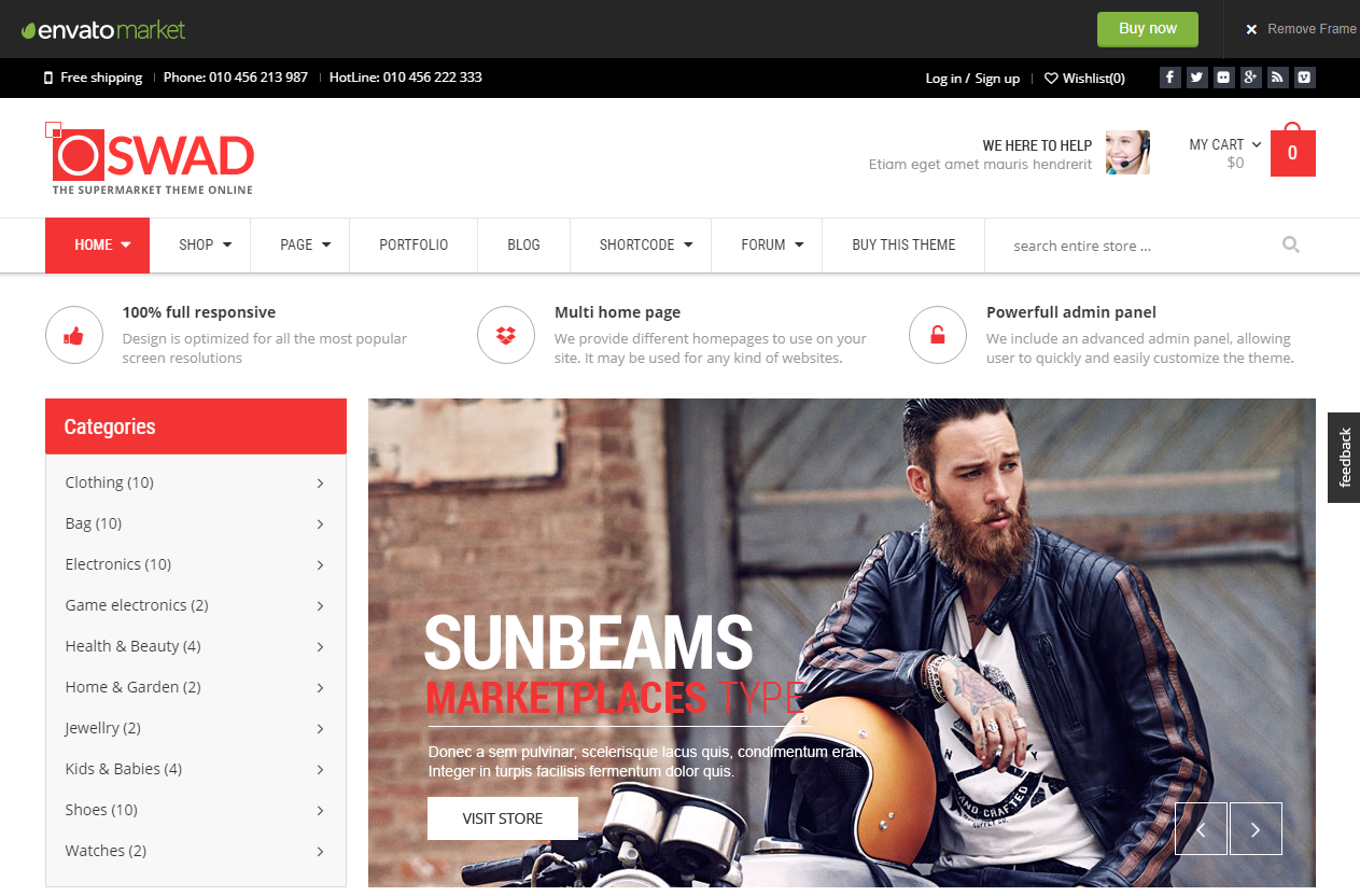 Preview screenshots of Responsive Supermarket Online Theme - Oswad