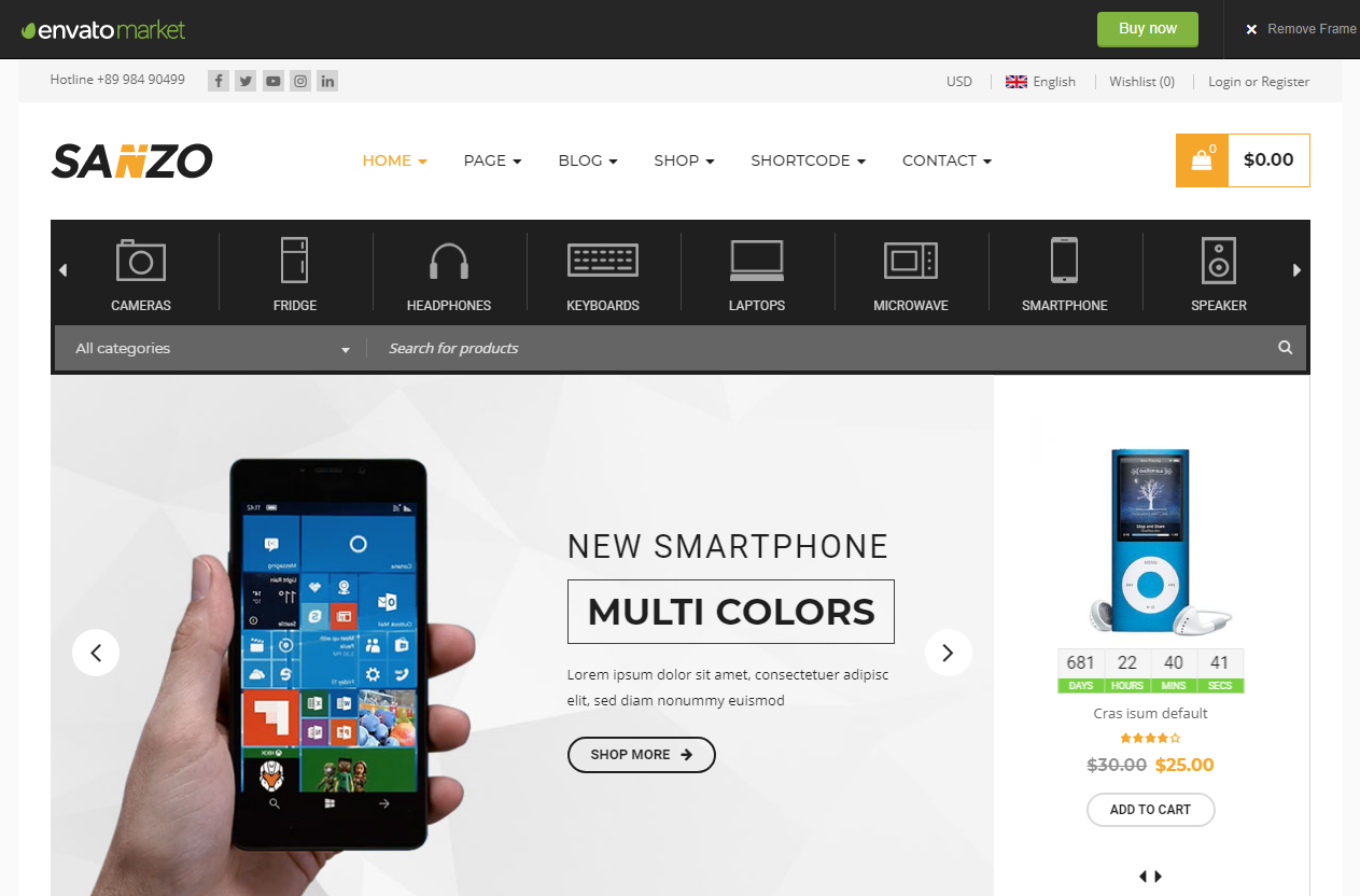 Preview screenshots of Sanzo - Responsive WooCommerce WordPress Theme