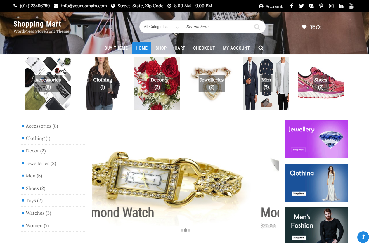Preview screenshots of Storefront Business WordPress Theme