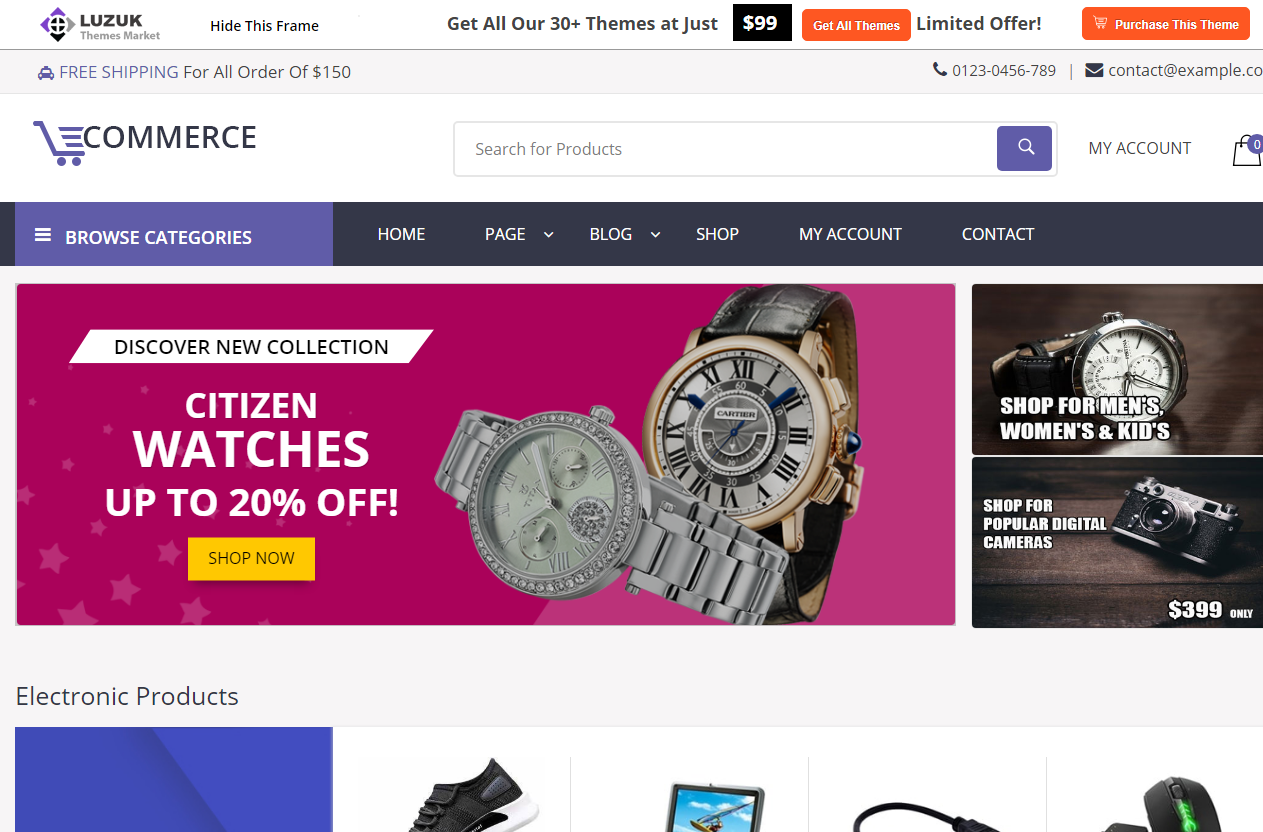 Preview screenshots of Supermarket Ecommerce WordPress Theme