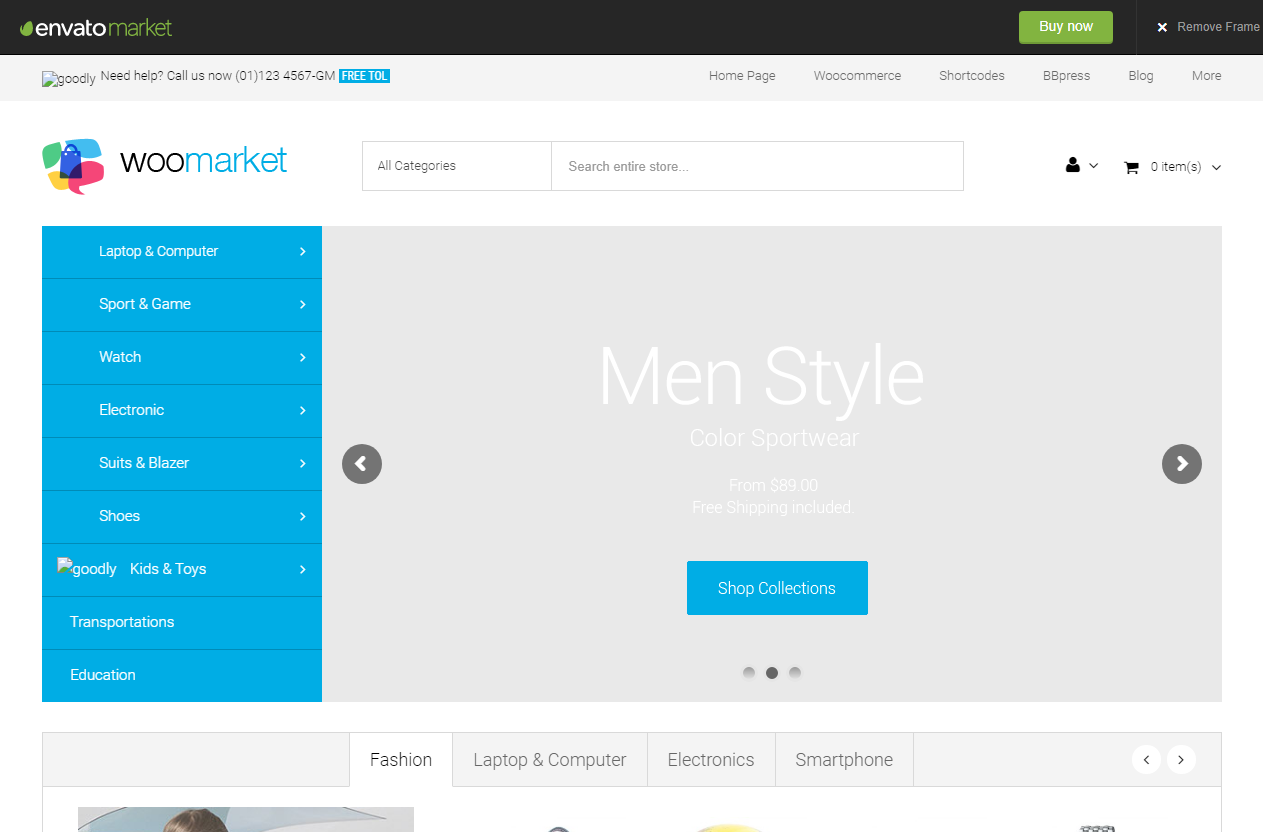 Preview screenshots of WooMarket - Supermarket WordPress WooCommerce Theme