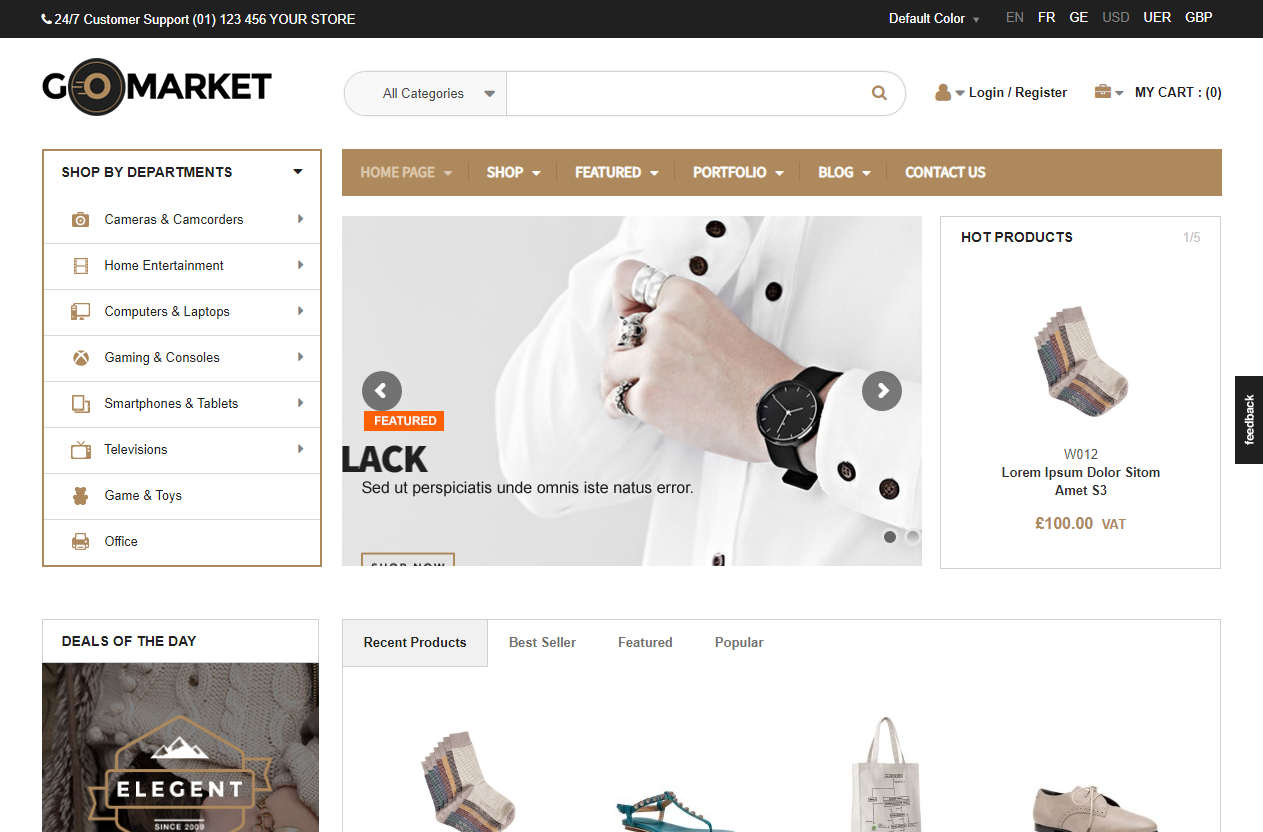 Preview screenshots of WooCommerce Supermarket Theme - GoMarket