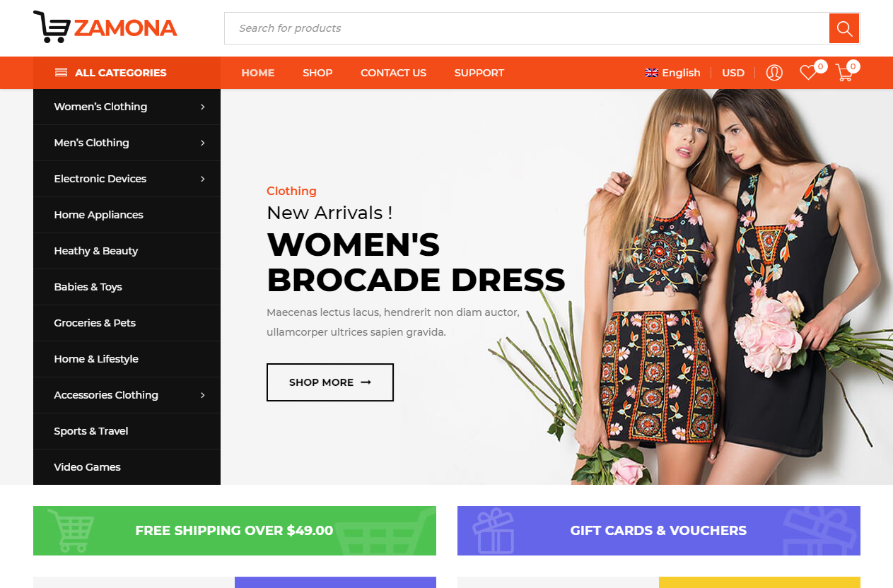 Preview screenshots of Zamona - Responsive WooCommerce WordPress Theme