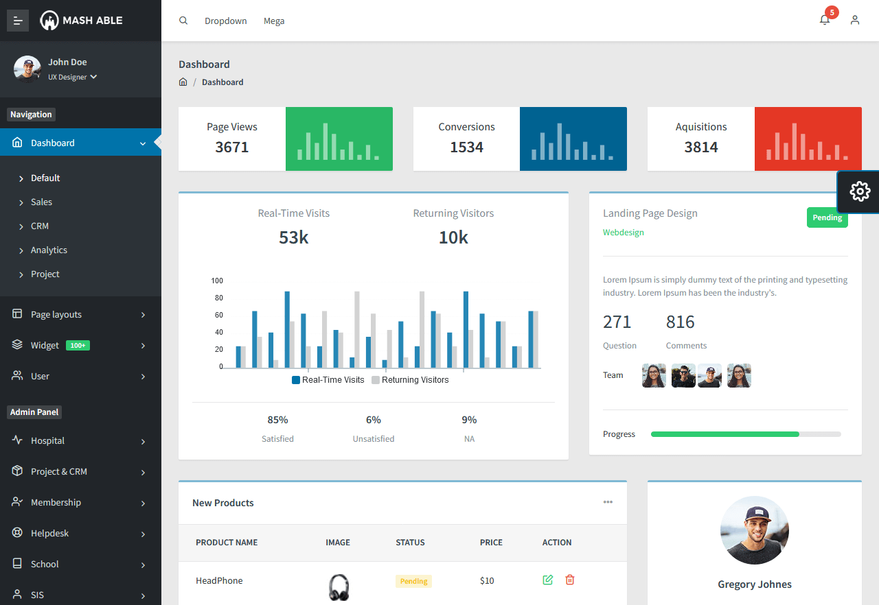 Preview screenshots of mash free admin template