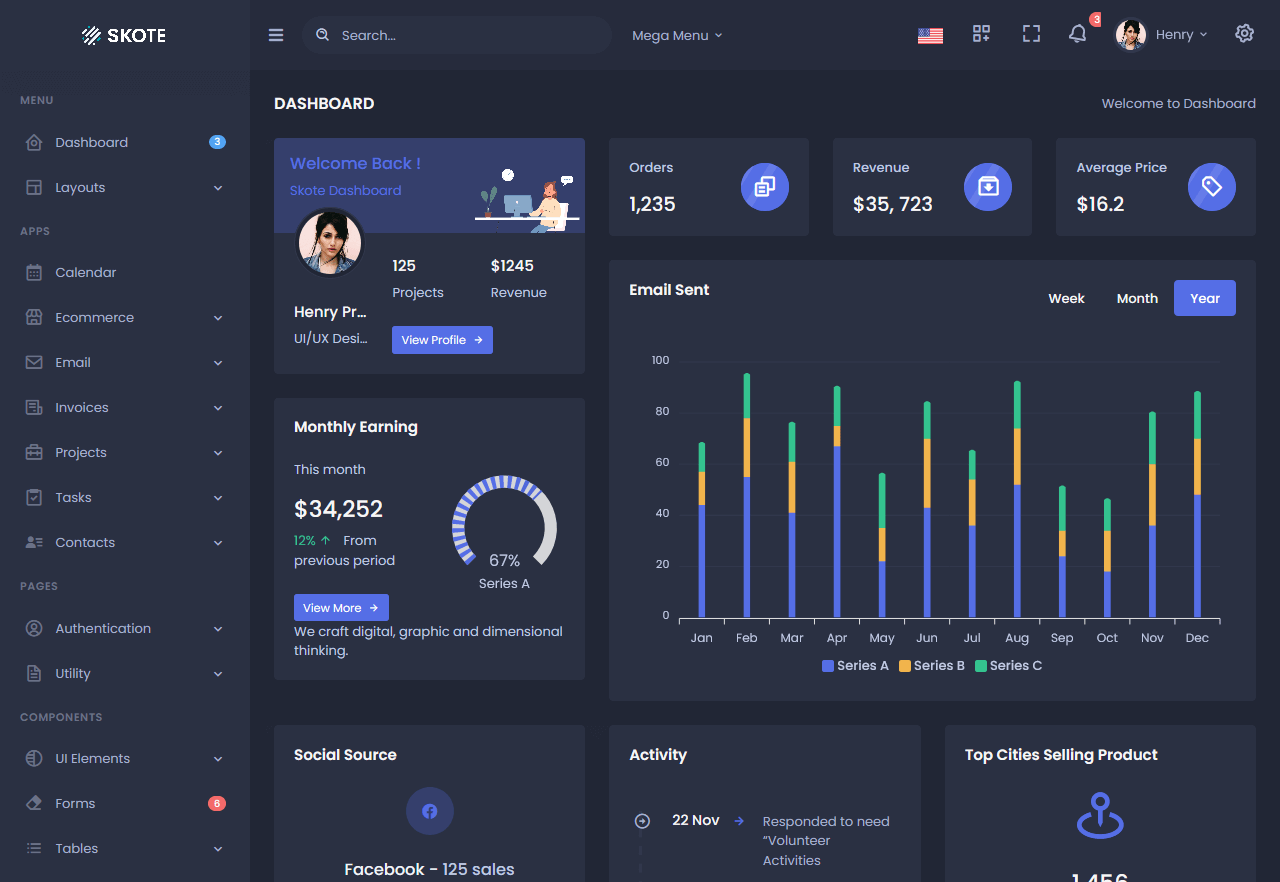 Preview screenshots of skote free admin template