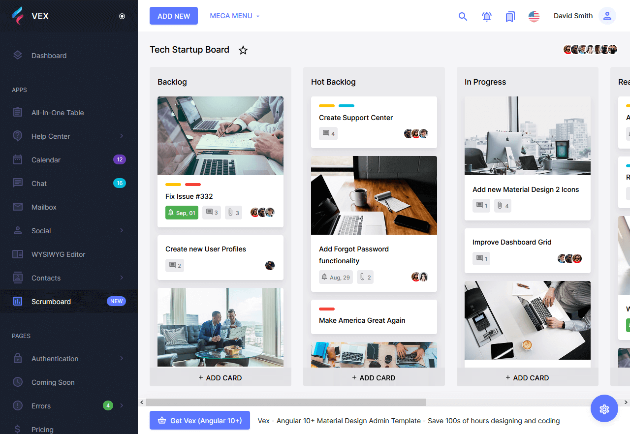 Preview screenshots of vex free admin template