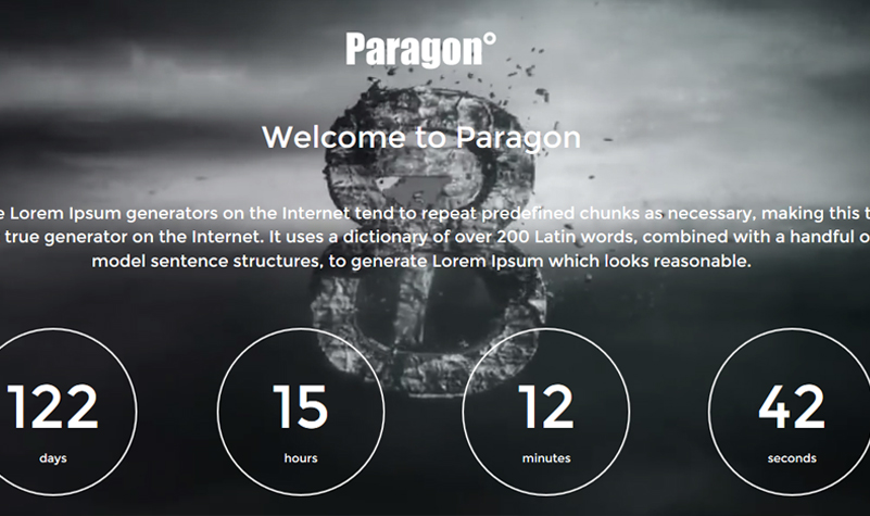 Paragon - A Full Screen Coming Soon WordPress Theme